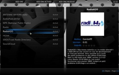 RadioH2O maintenant sur XBMC