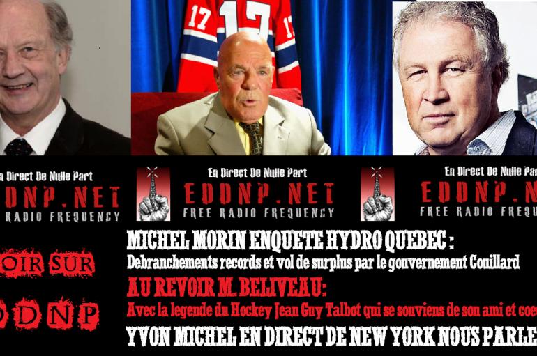 CE VENDREDI 20H SUR EDDNP: Michel Morin et la légende Jean-Guy Talbot